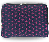 Yumbox Poche - Navy with Pink Birds Insulated sleeve