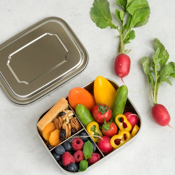 LEKKABOX 3 Compartments, 800ml, Stainless Steel Lunchbox.