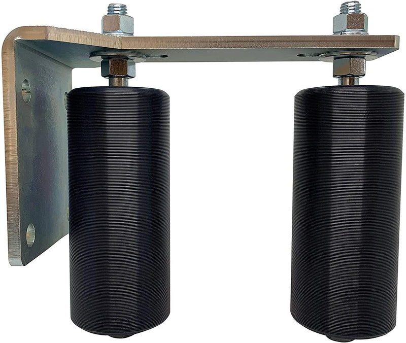 "Slide Gate Guide Rollers 6"" Black L Rear Post Bracket EG113-2 Pack"