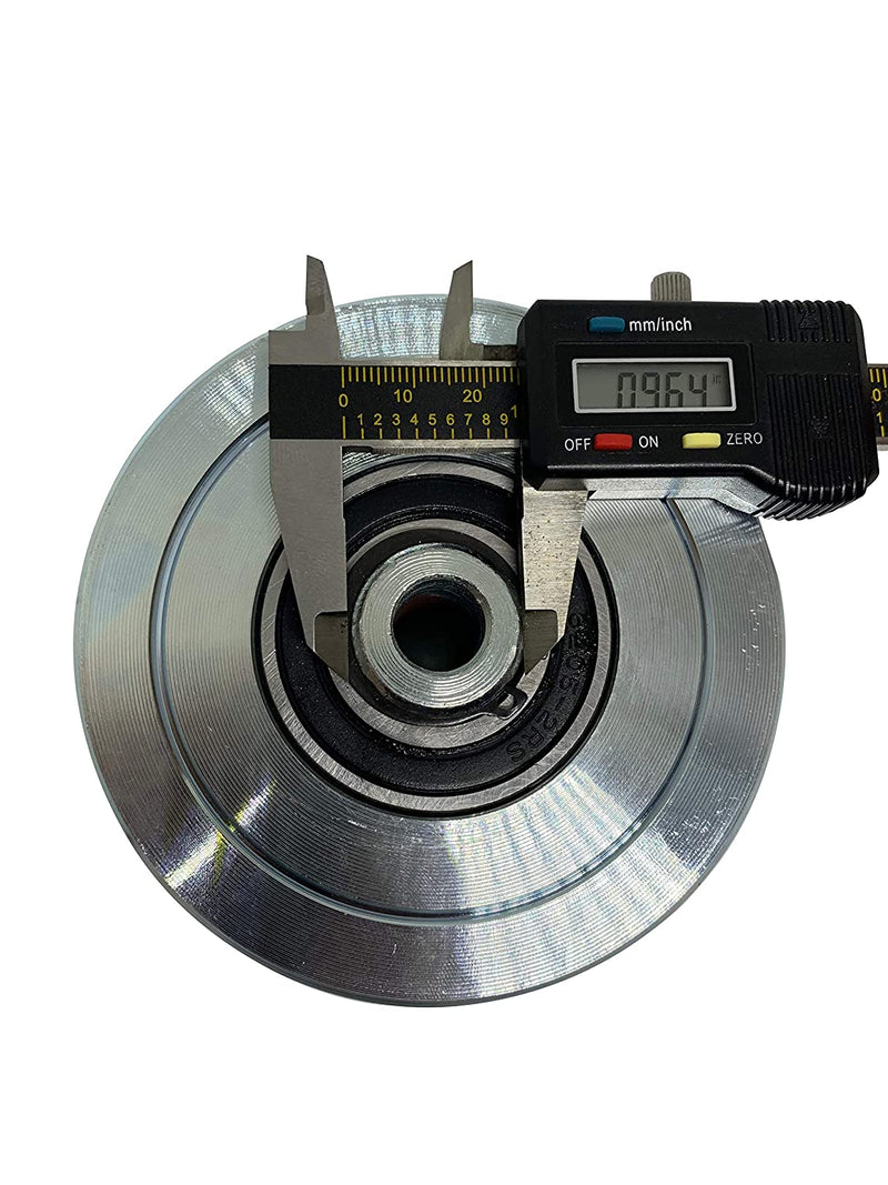 "Eagle EG096 Slide Gate Wheel 4"" V-Groove Solid Steel Sliding Wheel Bearing for Rolling V Shape Track Gates"