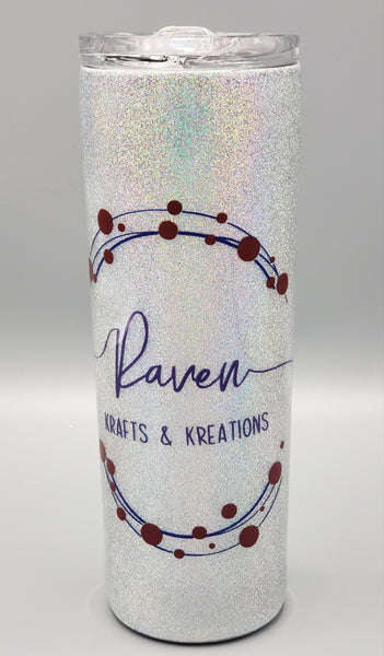 Custom 20 oz skinny tumbler - one color and one decal
