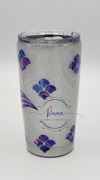 20 oz Mermaid Sliver Glitter Tumbler