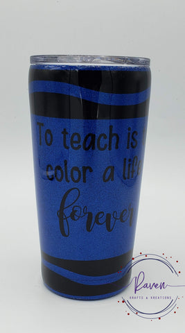 20 oz Teacher Crayon Glitter Tumbler