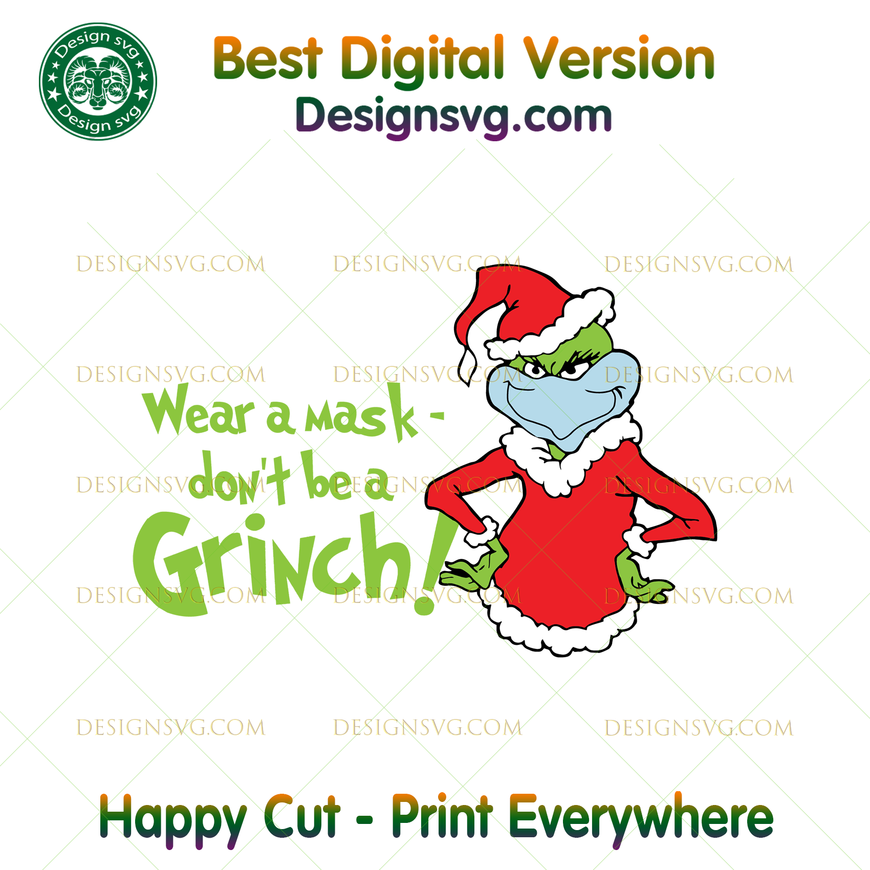 Wear A Mask Dont Be A Grinch Svg Christmas Svg Xmas Svg Christmas 2 Designsvg