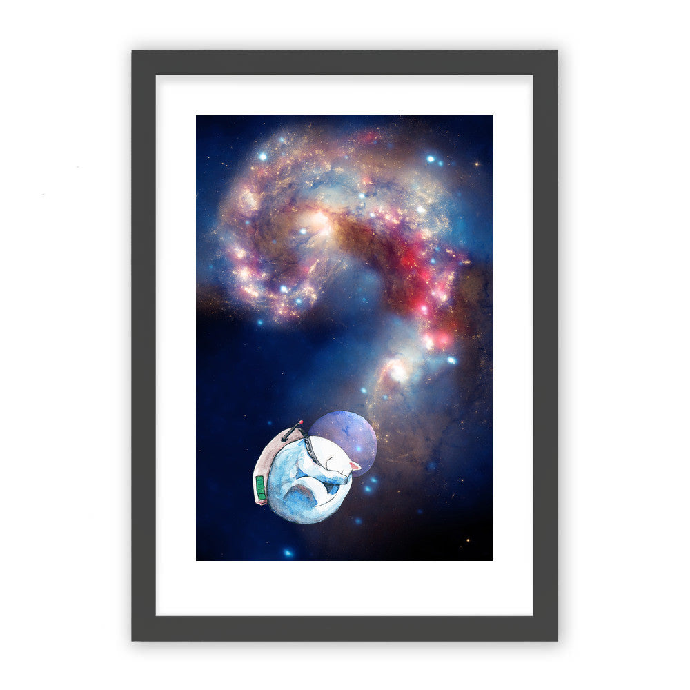 "Space Nap by Inky Cat Studio Black Premium / 12.5""x9.5"" - A4 Print / Photo (Semi-Gloss) - Inky Cat Studio, Visualtroop - 1"