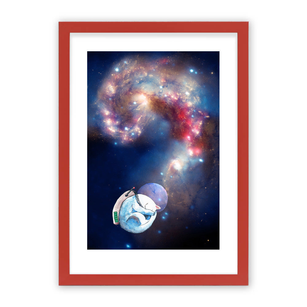 "Space Nap by Inky Cat Studio Red Premium / 12.5""x9.5"" - A4 Print / Photo (Semi-Gloss) - Inky Cat Studio, Visualtroop - 3"