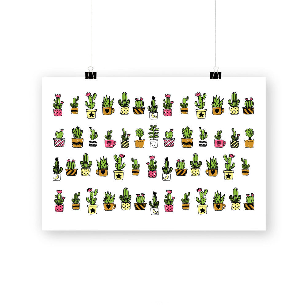 Cute Hand Drawn Cacti Pattern by cadinera