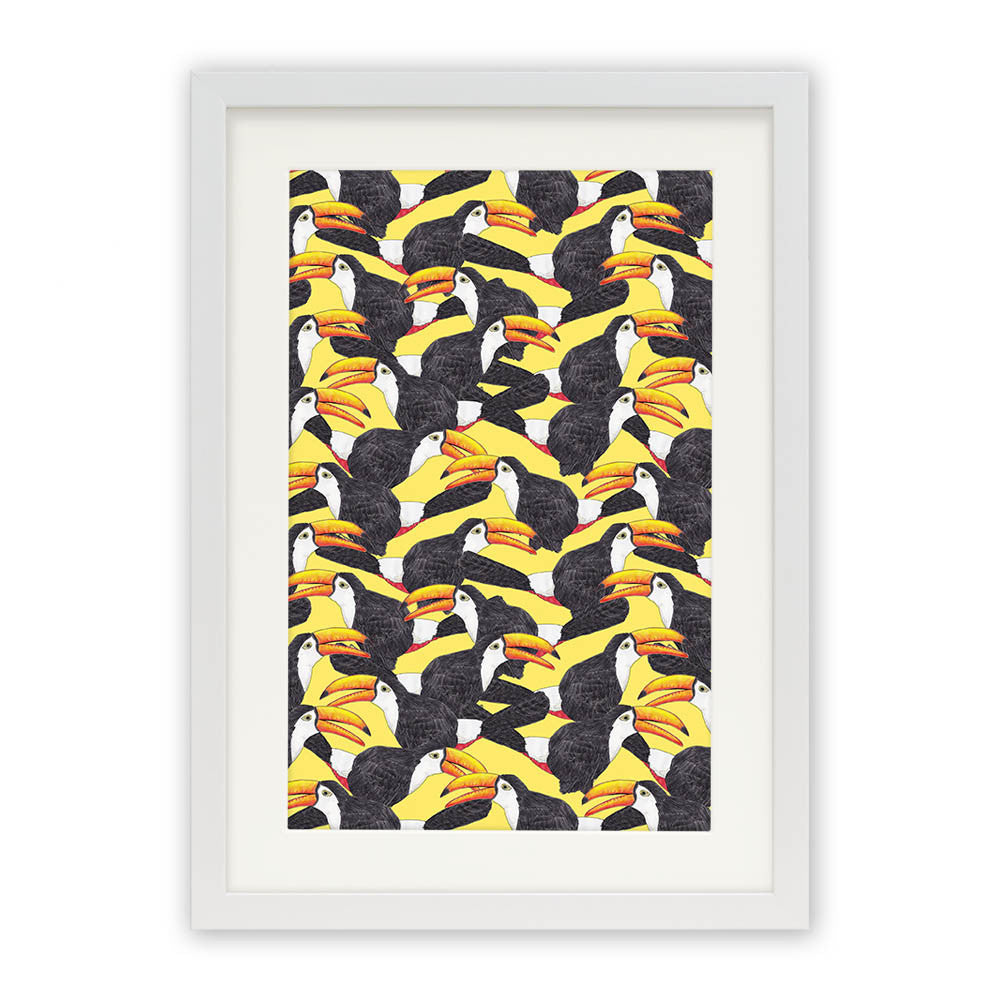 "Toucans (Yellow) by Lydia Meiying White Premium / 12.5""x9.5"" - A4 Print / Photo (Semi-Gloss) - Lydia Meiying, Visualtroop - 2"