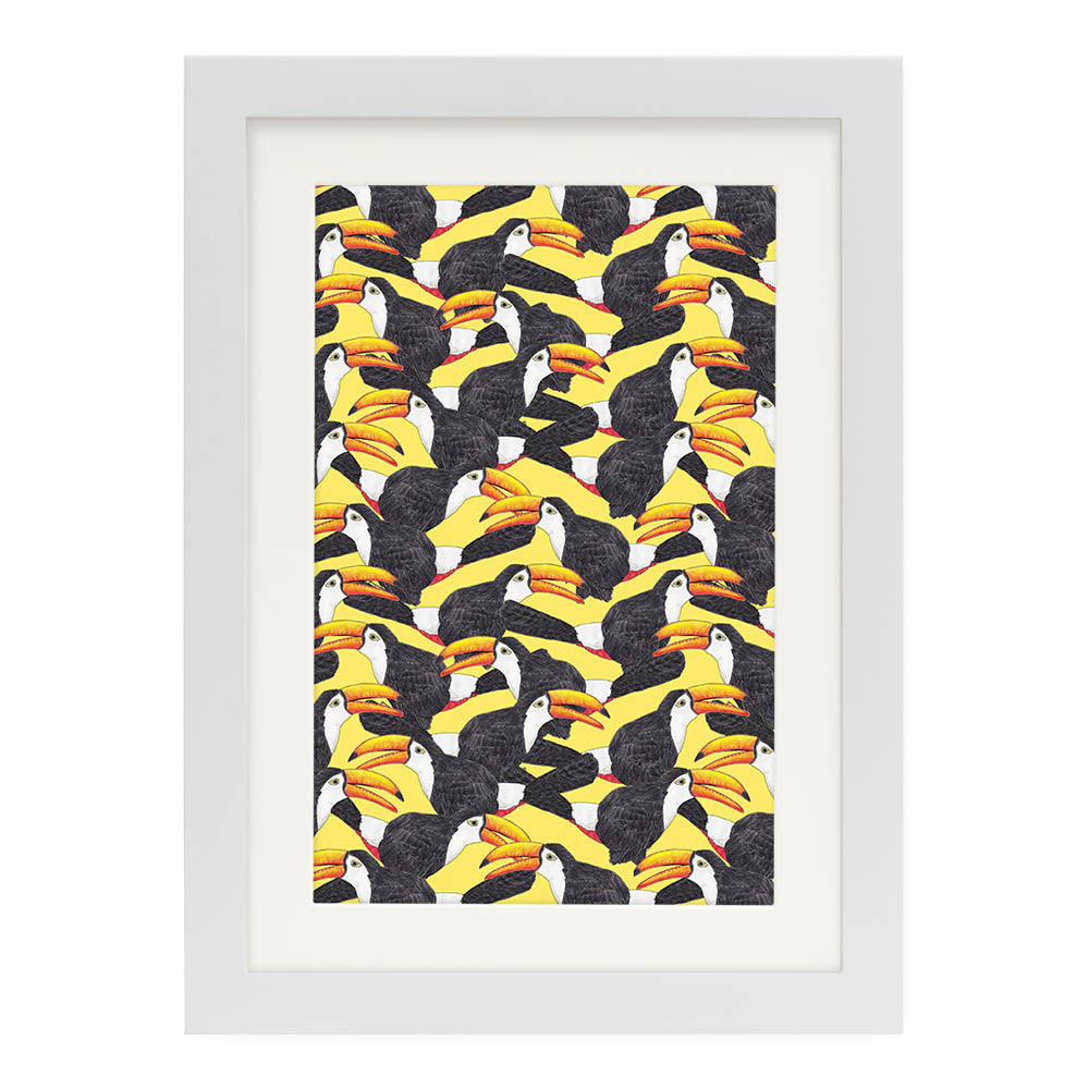 "Toucans (Yellow) by Lydia Meiying White Standard / 12.5""x9.5"" - A4 Print / Photo (Semi-Gloss) - Lydia Meiying, Visualtroop - 6"
