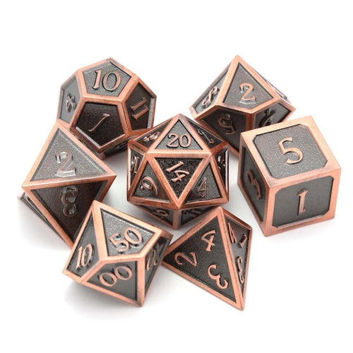 Metal Dice Set Copper & Black