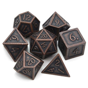 Metal Dice Set Ancient Copper and Black