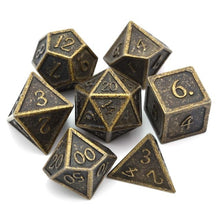 Load image into Gallery viewer, Metal Dice Set Ancient Gold and Black