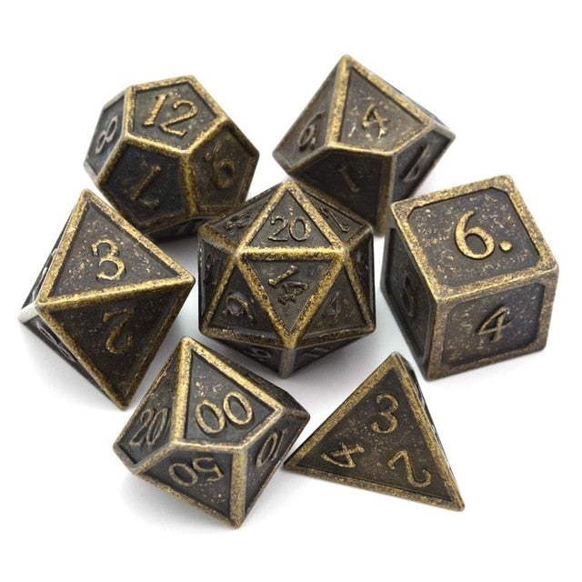 Metal Dice Set Ancient Gold and Black