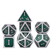 Load image into Gallery viewer, Metal Dice Set Silver and Green