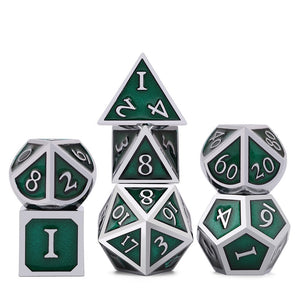 Metal Dice Set Silver and Green