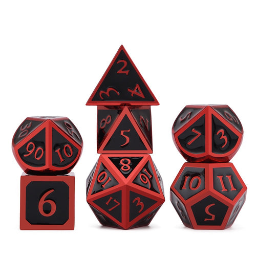 Metal Dice Set Red and Black