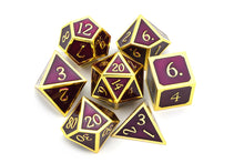 Load image into Gallery viewer, Metal Dice Set Gold and Maroon