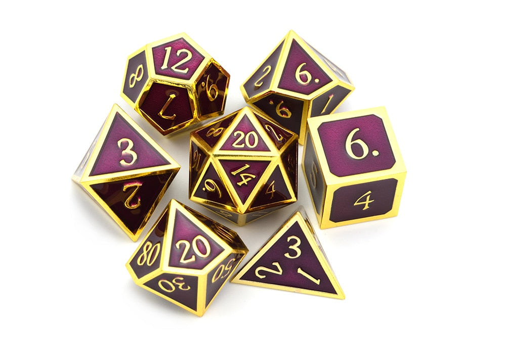 Metal Dice Set Gold and Maroon