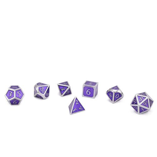 Metal Dice Set Silver and Purple
