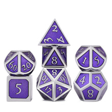 Load image into Gallery viewer, Metal Dice Set Silver and Purple