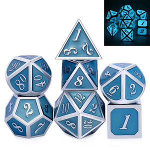 Metal Dice Set Silver and Luminous Blue