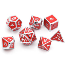 Load image into Gallery viewer, Metal Dice Set Silver and Red