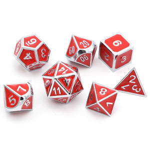 Metal Dice Set Silver and Red