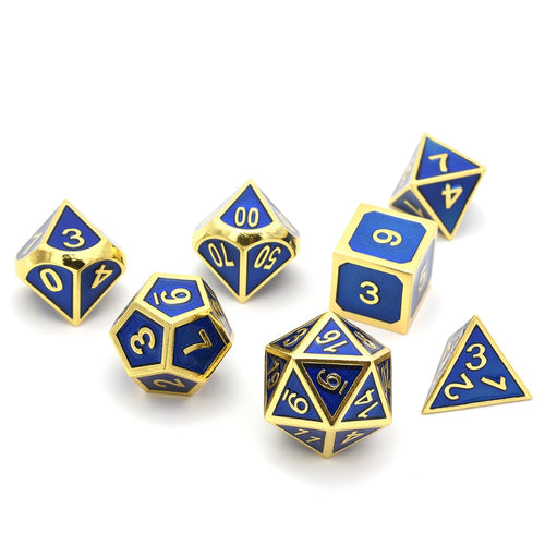 Metal Dice Set Gold and Blue