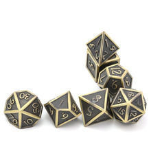 Load image into Gallery viewer, Metal Dice Set Gold and Black