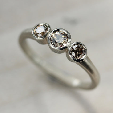 Three Stone Ring with Champagne Diamonds