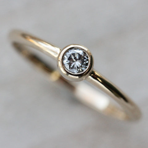 3mm Classic Engagement Ring with Recycled Diamond