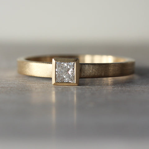 Square Solitaire Engagement Ring with Recycled Diamond
