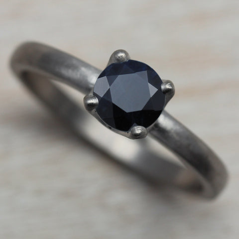 Blue Black Sapphire Crown Solitaire Engagement Ring in Palladium