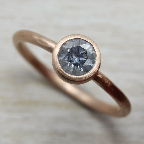 5mm Gray Salt & Pepper Moissanite Rustic Solitaire Engagement Ring in Rose Gold