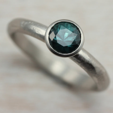 5mm Rustic Classic Engagement Ring, 14k White, Teal Blue Sapphire