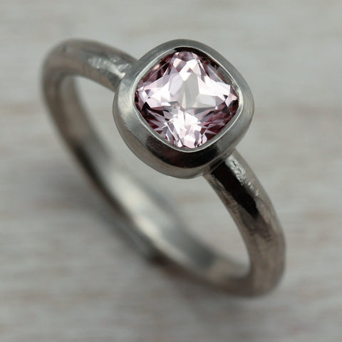 5mm Rustic Cushion Engagement Ring, 14k White, Light Pink Padparadscha Sapphire