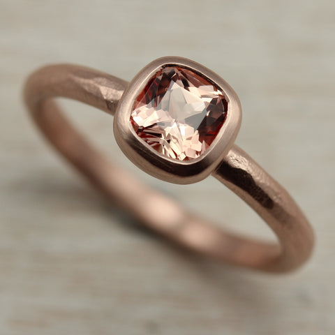 5mm Rustic Cushion Engagement Ring, 14k Rose, Light Peach Padparadscha Sapphire