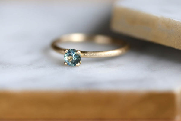 Green Montana Sapphire Solitaire Engagement Ring