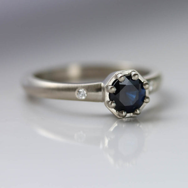 Dark Blue Fair-trade Sapphire Engagement Ring