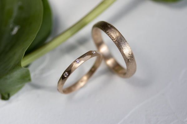 Men's & Women's Wedding Band Set In Yellow Gold Faceted and Rustic Rings