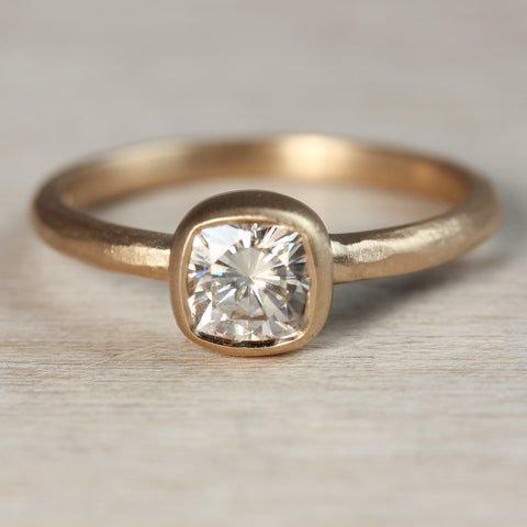 5mm Moissanite Rustic Cushion Cut Engagement Ring