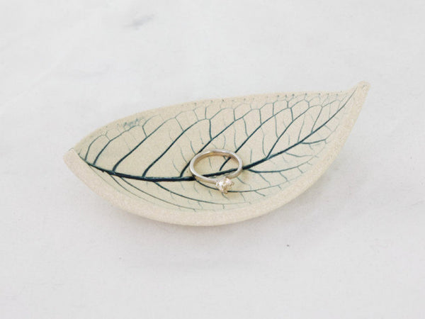 Ceramic Ring Dish Pottery Leaf Bowl Ceramic Bowl ~ Jewelry Dish Ring Dish Blue Ceramic Dish Ring Display ~ Wedding Ring Dish Ring Holder