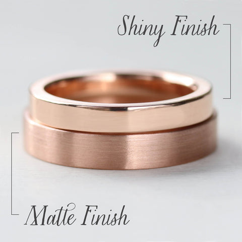 Matte and Shiny Finish Comparison Photo of Rose Gold Rings