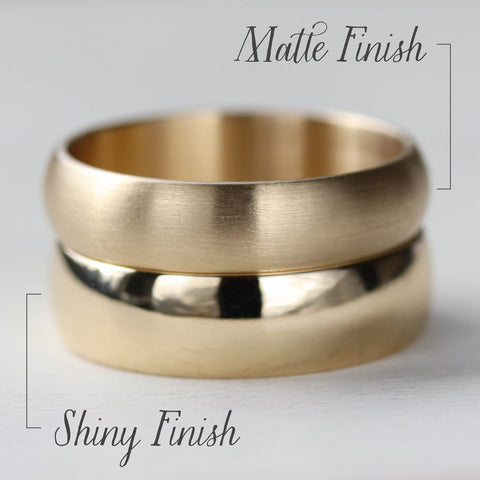 Matte & Shiny Finish Comparison Photo of Yellow Gold Rings