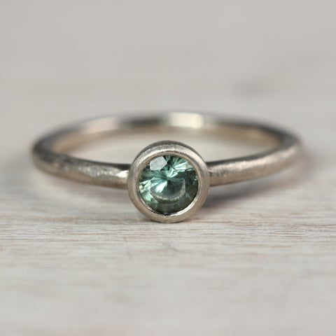 4mm Rustic Solitaire, 14k White Gold, Light Green Sapphire