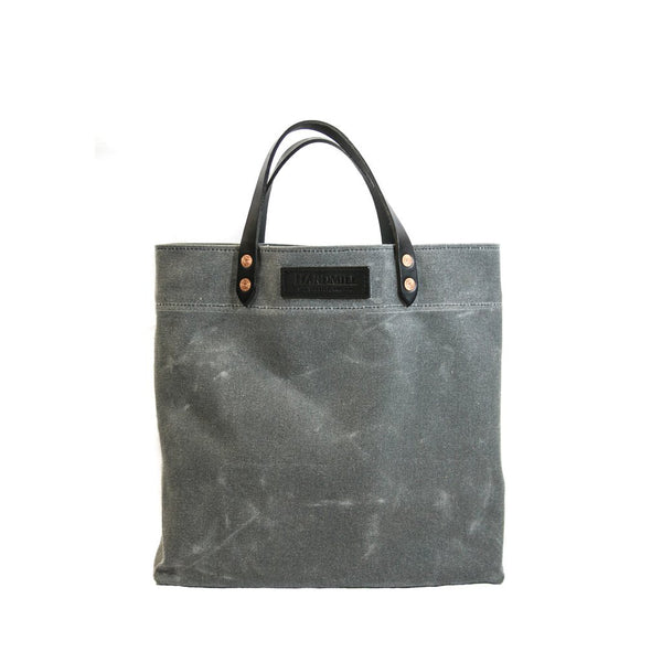 Hardmill's Grocery Tote in charcoal waxed cotton canvas, handmade in Seattle