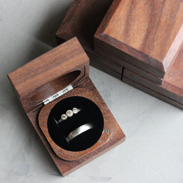 Engagement Ring Box Sale: Handmade & Sustainable Walnut Ring Boxes: Now Available