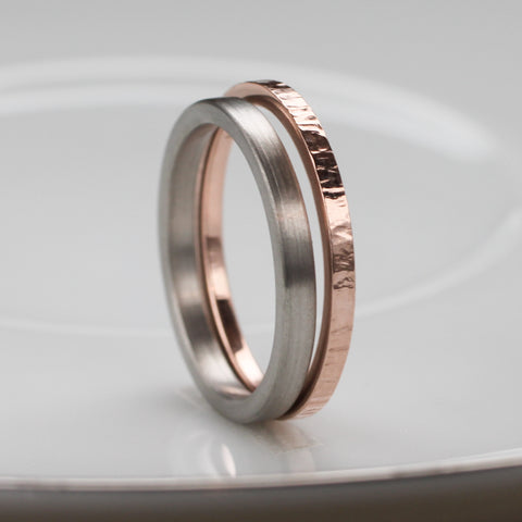palladium and rose gold wedding band set
