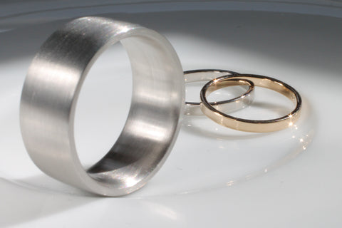 Palladium Yellow Gold and White Gold Wedding Band Set