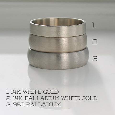 Color Comparison of 950 Palladium, 14k White Gold, and 14k Palladium White Gold
